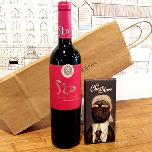 Lote vino y chocolate para regalar, regalos originales para foodies, que regalar a un winelover,